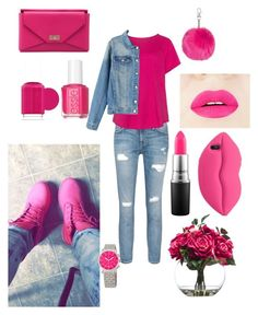 """""""pink"""" by rabiahk on Polyvore featuring Timberland, Current/Elliott, Givenchy, Essie, Lux-Art Silks, MAC Cosmetics, Topshop, STELLA McCARTNEY and Michele"""