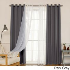 Shop for Aurora Home MIX & MATCH CURTAINS Blackout and Muji Sheer 84 inch Silver Grommet 4 piece Curtain Panel Pair 52 x Get free delivery at Overstock Your Online Home Decor Outlet Store! Get in rewards with Club O! Home Curtains, Curtains Living, Grommet Curtains, Window Curtains, Curtain Panels, Blackout Curtains, Curtains With Sheers, Purple Curtains, Blackout Panels