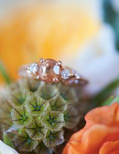 Peach Sapphire and Rose Gold Custom Made Engagement by roycekelly