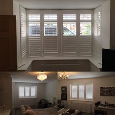 Absolute Shutters is your local window plantation shutter company, installing wooden shutters throughout Manchester and Cheshire, Bay Window Specialist House Blinds, Blinds For Windows, Curtains With Blinds, Bay Windows, Window Curtains, Bay Window Shutters, Wooden Shutters, Bay Window Living Room, New Living Room