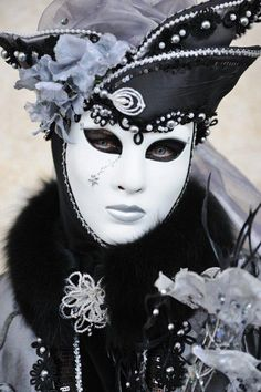black and white full face masquerade mask