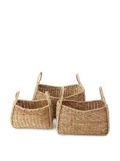 Wald Imports Set Of 3 Oversized Seagrass Kalas Baskets Natural