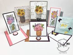 Jar of Flowers and Fun Fold Card class. Jar Of Flowers bundle and all product for this class are by Stampin\'Up! available at frenchiestamps.com #jarofflowers #funfoldcardclass #stampinup #stamping #frenchiestamps #cardmaking #papercrafts #handmadecards #papercrafting #stampingtechniquehowtovideo Fun Fold Cards, Folded Cards, Side Step Card, Best Wishes Card, Step Cards, Flower Pots, Flowers, Bird On Branch, Easel Cards