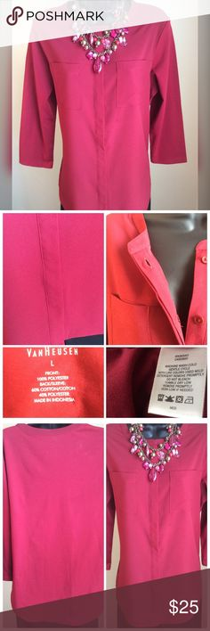 """Van Heusen Top Beautiful cranberry colored top. Hidden buttons down the front, two front pockets and 3/4"""" sleeves. Measures 21"""" across the chest and 27"""" long. Van Heusen Tops Button Down Shirts"""