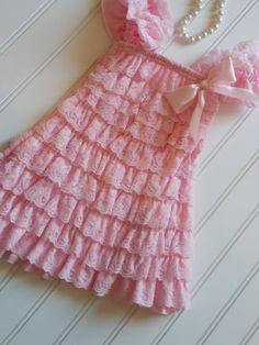 Baby Pink Shabby Chic Lace DressWeddingsBirthday by TheRuffledbum, $23.95