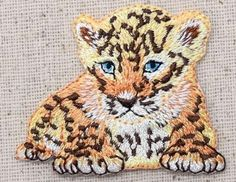 Iron On Embroidered Applique Patch Baby Natural Cheetah Cub Laying Down