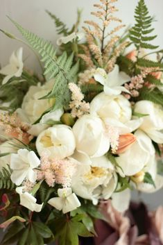 June bouquet featuring white peonies, agrostemma, astilbe, and ferns. Grown and designed by Love 'n Fresh Flowers.