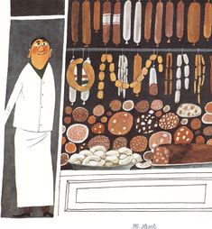 Miroslav Sasek. Sausages! Watercolor and pen and ink. 1969.
