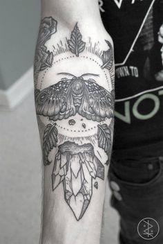 moth, crystal, leaf, arm tattoo, tattoo for men