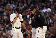 Game 10/162, 4/16/2012; Starter TIm Lincecum is visited by pitching coach Dave Righetti and catcher Buster Posey during his start against the Philadelphia Phillies.  Lincecum has had badk luck in his past 2 starts, and this one was no better, allowing 4 runs in the first inning.