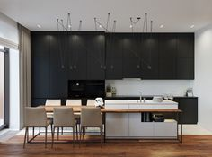 Trendy kitchen island table ideas built ins ideas Black Kitchens, Cool Kitchens, Kitchen Black, Küchen Design, House Design, Modern Design, Design Ideas, Studio Apartment Design, Apartment Layout