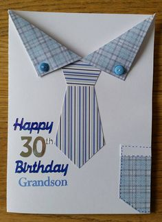 Shirt & tie birthday card kids fathers day gift ideas, fathers day for boyfriend, mothers day preschool & tie birthday card Birthday Cards For Boys, Masculine Birthday Cards, Birthday Cards For Men, Handmade Birthday Cards, Masculine Cards, Greeting Cards Handmade, Diy Birthday, Card Birthday, Boy Cards