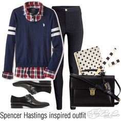 Spencer Hastings inspired outfit/PLL by tvdsarahmichele on Polyvore featuring U.S. Polo Assn., H&M, Madewell, Yves Saint Laurent, Henri Bendel and Kate Spade