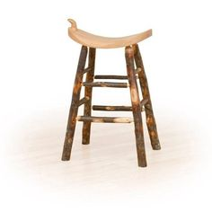 Kunkle Holdings LLC Rustic 24 Inch Counter Western Saddle Stool - Hickory & Oak or All Hickory Saddle Bar Stools, Cool Bar Stools, Metal Bar Stools, Swivel Bar Stools, Counter Stools, Furniture Direct, Log Furniture, Oak Logs, Backless Bar Stools