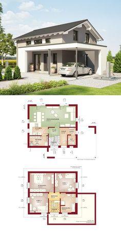 MODERNES EINFAMILIENHAUS * Haus Edition 1 V2 Bien Zenker * Fertighaus mit Satteldach Grundriss modern Hauseingang überdacht Carport