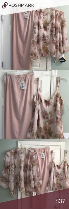Three piece Voluptuous women...Here it is! A three piece mauve (with other colors) wide legged set for a special event...wedding, tea party, date with your favorite, the list goes on! Very beautiful and elegant ensemble. BRAND NEW NEVER WORN! Pants Wide Leg