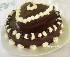 Two Tier Valentine's Cake - Kopiaste.to Greek Hospitality This Valentine's Dark Chocolate Cake is rich and delicious. It is super moist, filled with cream cheese, whipped cream and sour cherries. Chocolate Cheese, Dark Chocolate Cakes, Beautiful Desserts, Beautiful Cakes, Best Dessert Recipes, Fun Desserts, Valentine Cake, Savoury Cake, Cream Cheese Frosting