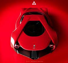 For all its aggressiveness, the Alfa Romeo Disco Volante concept by Alex Imnadze also has a delicate femininity to it. Makes perfect sense considering its flowing Lamborghini, Bugatti, Mexico 2018, Automobile, Train Truck, Cars Land, Alfa Romeo Cars, Weird Cars, Crazy Cars