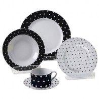 Jogo de Jantar Porcelana com Poás Branco e Preto - 30 pçs