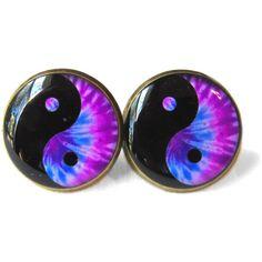 Nu Goth Bubblegum Purple Tie Dye Trippy Yin Yang Earrings, 90s Soft... ($10) ❤ liked on Polyvore featuring jewelry, earrings, accessories, piercings, gothic jewelry, gothic earrings, purple jewelry, clear jewelry and nickel free earrings