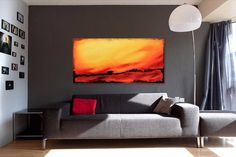 "Warm red and yellow colors energy Large 24""x48""abstract textured painting Modern space decoration Abstract landscape Original oil painting by SyzymStudio on Etsy"