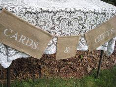 Burlap Cards Banner Rustic Wedding Decor by YourDivineAffair, $16.95