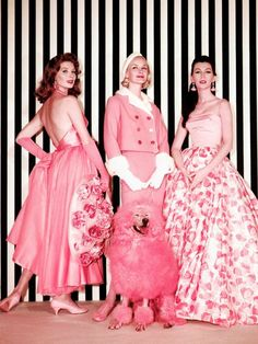 """Edith Head, gowns worn by models Suzy Parker, Sunny Harnett and Dovima for the fashion sequence """"Think Pink"""" in movie """"Funny Face"""", 1957"""