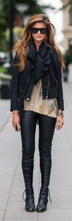 Street style, fall leather leggings + gold tank.