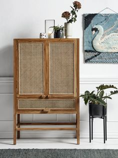 Add some rattan to your room with this sophisticated teak wood cabinet from Nordal. Cane Furniture, Rattan Furniture, Furniture Design, Oriental Furniture, Accent Furniture, Buffet Teck, Round Chair, Wood Storage, Storage Trolley