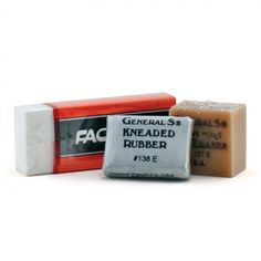 Generals Eraser Set includes 1 kneaded rubber eraser, 1 Factis white plastic art eraser and 1 gum eraser.