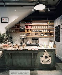juice cafe ideas - exposed shelving