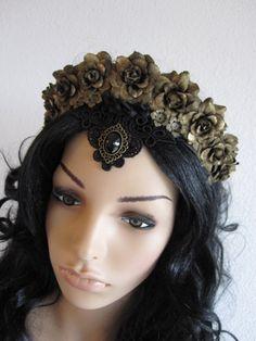 Gothic Headband Headpiece Headdress Black and Bronze by Ravennixe