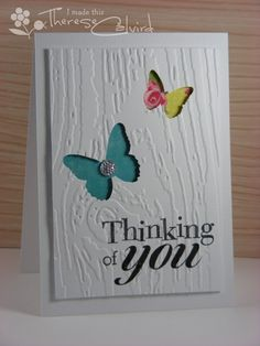 Butterfly Thinking of You card wood embossing