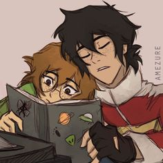 Pidge and sleepy Keith reading a book from Voltron Legendary Defender