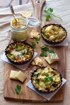 Broccoli, Baby Potato and Comte (Gruyere) Cheese Tarts in Saltine Cracker Crust