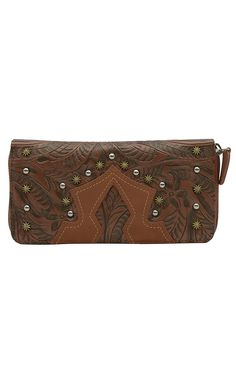 Wrangler Ladies Aubree Carmel Tooled with Studs Zip Wallet