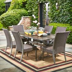 Hampton Bay Carleton Place Patio Dining Set at The Home Depot - Mobile Ikea Outdoor, Outdoor Dining Set, Outdoor Living Areas, Patio Dining, Outdoor Decor, Dining Sets, Outdoor Ideas, Outdoor Entertaining, Patio Ideas