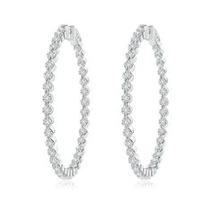 Angara Brown and White Diamond Inside-Out Hoop Earrings in White Gold uFaNN