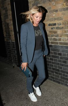 After a night out in London, Kate was snapped styling this Gucci suit her own way. And while we love the way it's glammed up on camera, we're partial to Kate's t-shirt and sneakers.