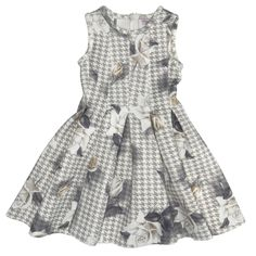 Monnalisa Chic udsalg børnetøj Grå kjole med blomster motiv tilbud børnetøj