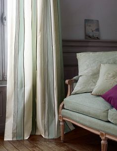 Manuel Canovas - Marin Available at James Brindley. Fabric Covered Walls, Window Toppers, Small Cushions, Striped Curtains, Custom Window Treatments, Fabulous Fabrics, Fabric Wallpaper, Panel Curtains, Color Inspiration