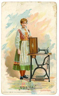 Singer Sewing Machine's World, 1892, Norway Trade Card