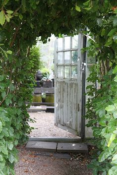 Look at this green house door! Not sure I'm the person to stand in there and plant things or so, but with a cup of tea and a great book... Yes that would suit me just fine!