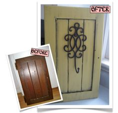 Re-purposed Cabinet Door idea for the doors I bought at yard sale. I even have a metal decorative hook! Old Cabinet Doors, Old Cabinets, Furniture Makeover, Diy Furniture, Furniture Refinishing, Woodworking Projects, Diy Projects, Door Crafts, Reno