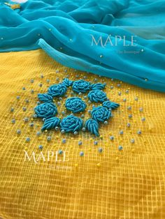 To customize whatsapp 9043230015 for Saree, blouse and Kurtis. Embroidery On Kurtis, Kurti Embroidery Design, Embroidery Neck Designs, Hand Embroidery Flowers, Hand Work Embroidery, Embroidery Saree, Embroidery Suits, Hand Embroidery Stitches, Crewel Embroidery