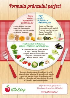 Tu ce ai mâncat astăzi la prânz? Deschide infograficul și află dacă ai respectat proporțiile ideale ale unui prânz nutritiv! #pranz Healthy Tips, Healthy Recipes, Cure Diabetes Naturally, Health Eating, Diet And Nutrition, Herbal Remedies, Herbalism, Healthy Lifestyle, The Cure