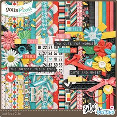 Just Too Cute :: Page Kits :: Kits :: Gotta Pixel Digital Scrapbook Store by Bekah E Designs  $6.00