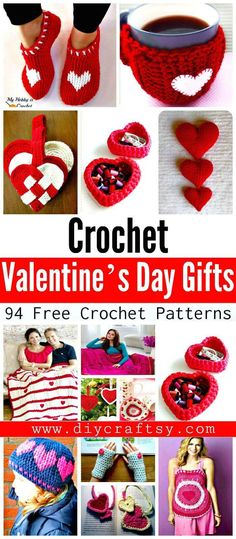 94 Free Crochet Patterns for Valentine's Day Gifts - DIY & Crafts Source by Holiday Crochet, Crochet Gifts, Diy Crochet, Tutorial Crochet, Crochet Slipper Pattern, Crochet Patterns, Crochet Slippers, Valentine Crafts, Valentines