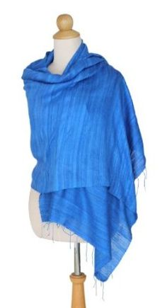 Silk shawl, 'Blue Treasure' NOVICA. $39.95