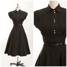 Vintage 1950s Dress Black Faille New Look Full by stutterinmama